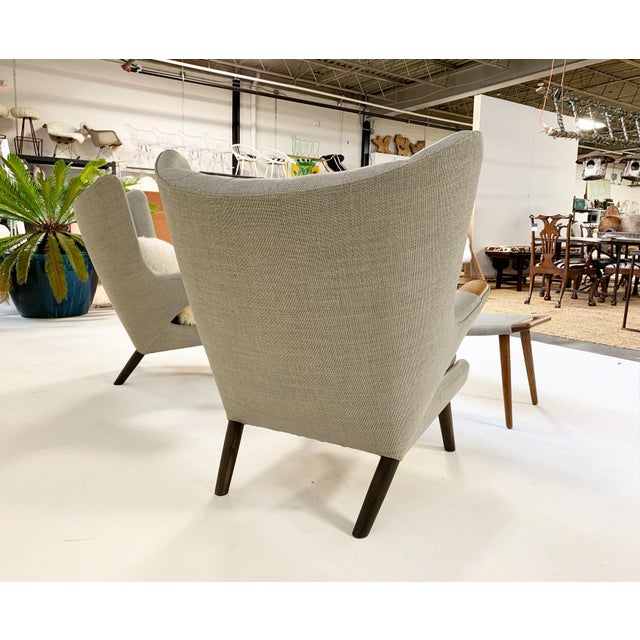 Important Pair of Hans Wegner for a.p. Stolen Papa Bear Chairs With Ottomans For Sale - Image 9 of 13