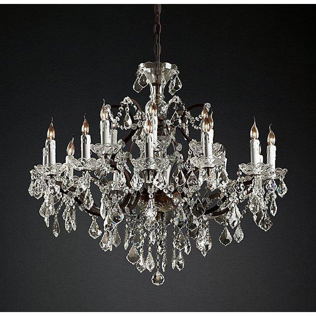 2010s 19th Century Rococo Iron & Clear Crystal Round Chandelier For Sale - Image 5 of 5
