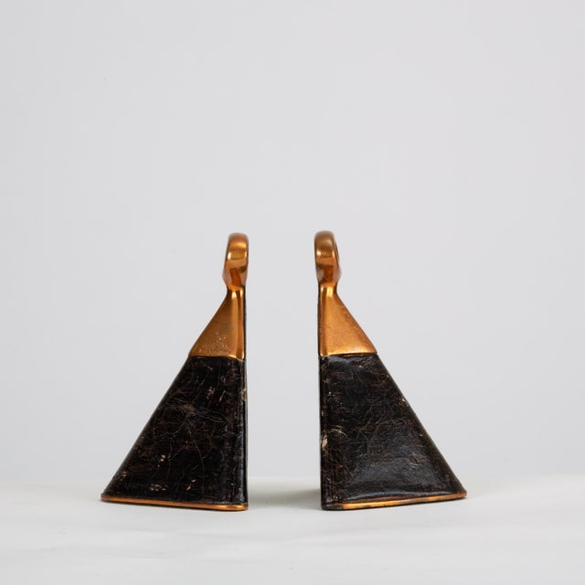 Pair of Copper and Leather Bookends by Ben Seibel for Raymor For Sale - Image 10 of 10
