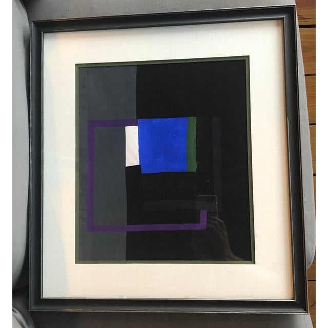 Lovely Abstract gouache painting by New Hope modernist painter Bernard Segal. Dated 1970. Newly framed and matted.