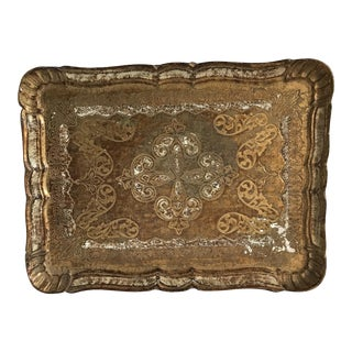 ItalianMid-Century Florentine Gilded Tray For Sale