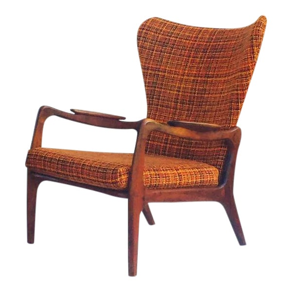 Mid Century Modern Wingback Chair Atomic Age Walnut Arm Chair All Original - Image 1 of 11