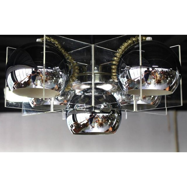 Lucite and Chrome Domes Mid-Century Modern Light Fixture For Sale - Image 4 of 7