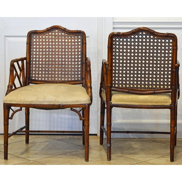Pair of Chinoiserie Chippendale Style Upholstered Faux Bamboo Wooden Armchairs For Sale - Image 4 of 13
