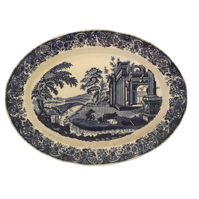 Chinoiserie Blue & White Serving Platter - Image 1 of 5