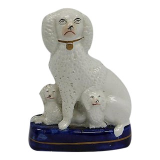 Antique Staffordshire Poodle w/ Her Pups For Sale