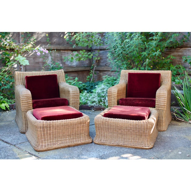 1970s Vintage Sculptural Wicker Armchairs & Ottomans- 4 Pieces For Sale - Image 12 of 12