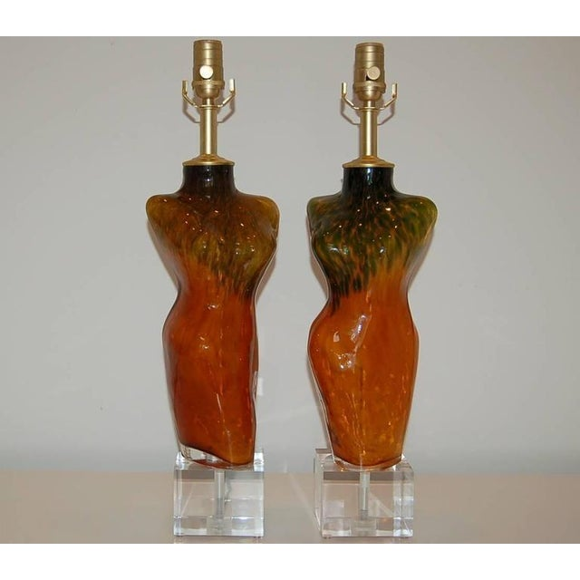 Venus sculptural Venetian glass table lamps in ORANGE and OLIVE GREEN, handblown into a mold. A striking combination of...