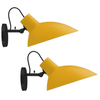 Italian Vittoriano Viganò 'Vv Cinquanta' Yellow Enamel Wall Sconces - a Pair For Sale