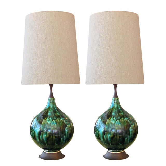 American 1960's Olive Green and Teal Drip Glaze Bulbous-Form Lamps With Shades - a Pair For Sale