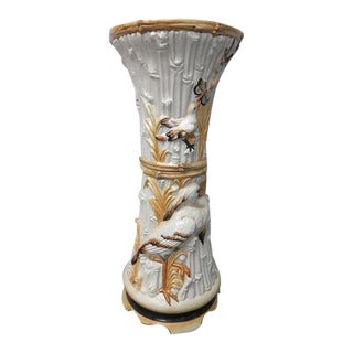Chinoiserie Pedestal Bird Heron Column Plant Stand For Sale
