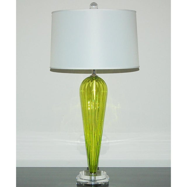 Contemporary Joe Cariati Glass Table Lamps Green For Sale - Image 3 of 7