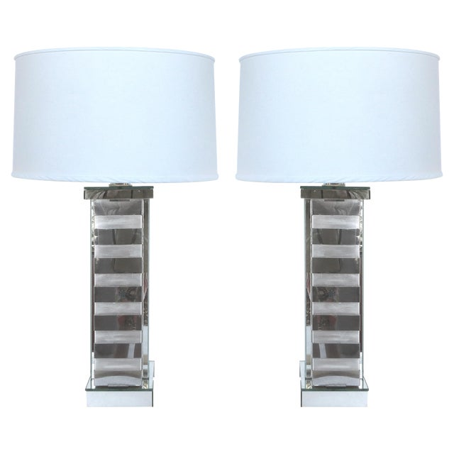 Mid-Century Steel & Glass Table Lamps - A Pair - Image 1 of 10