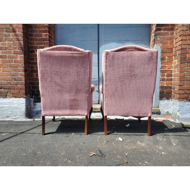 Vintage Blush Pink Velvet Armchairs - a Pair For Sale - Image 9 of 12