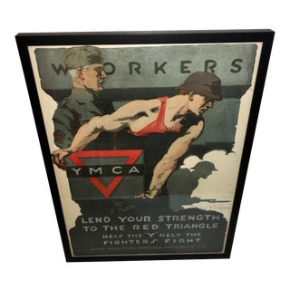 1918 WWI Ymca Workers Help the Fighters Poster For Sale