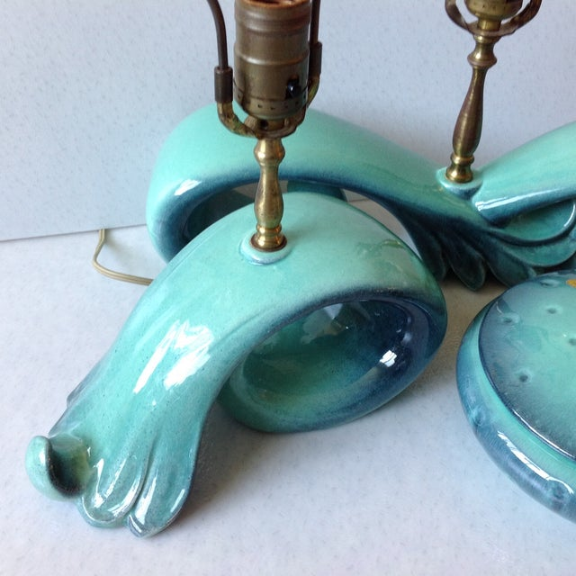 Mid-Century Sea Foam Green & Blue Pottery Lamp Set For Sale - Image 11 of 11
