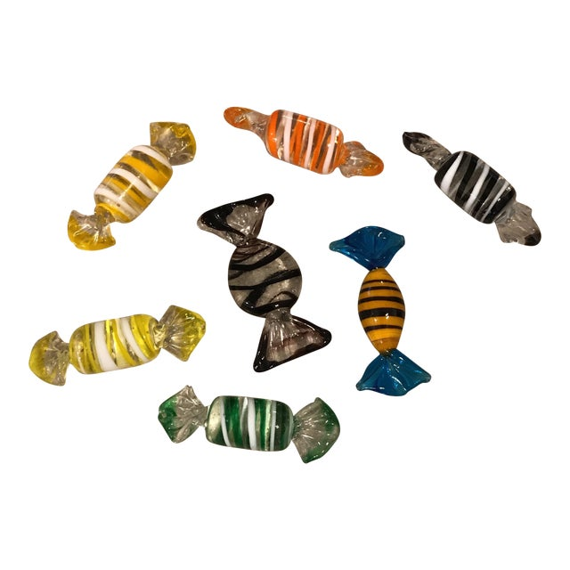 Murano Glass Candy Figurines - Set of 7 - Image 1 of 9