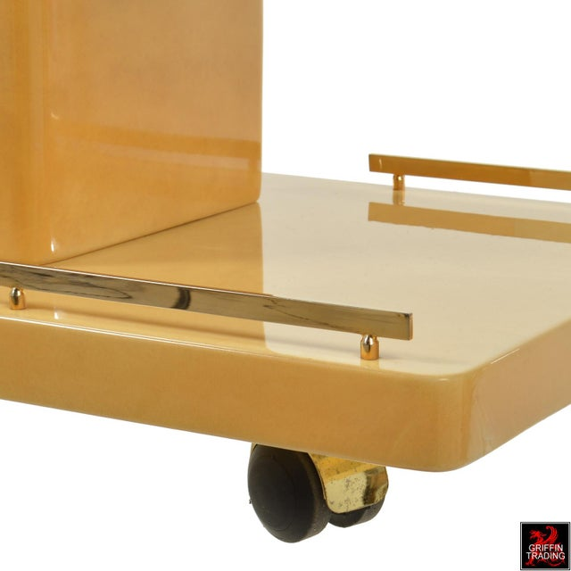 Aldo Tura Italian Cocktail Cart - Bar Cart in Lacquered Goatskin For Sale - Image 12 of 12