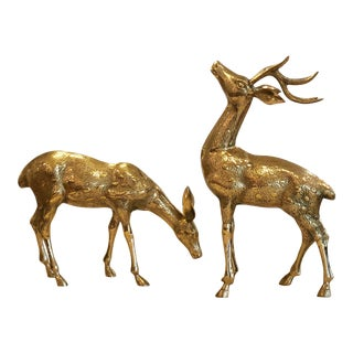 Vintage Brass Deer Figurines - a Pair For Sale