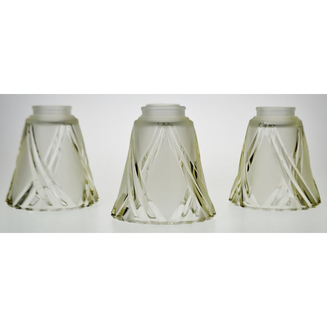 French Art Deco Frosted To Clear Cut Glass Lamp Shades Set Of 4