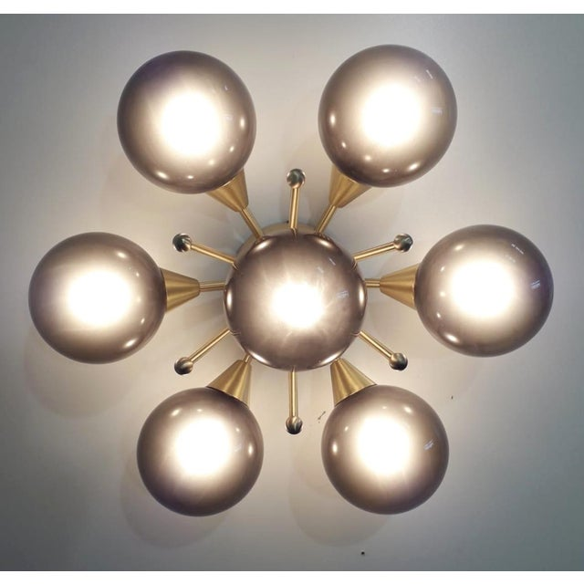 Italian modern flush mount or wall light with 7 frosted smoky Murano glass globes mounted on satin brass frame / Designed...