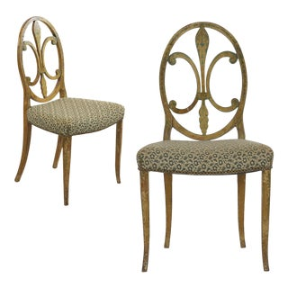 Pair of Neoclassical Painted Accent Antique Side Chairs, 19th Century For Sale
