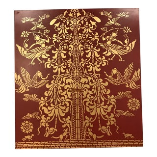 Burgundy & Gold Leaf Wooden Wall Hanging For Sale