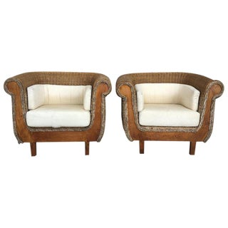 Midcentury Set of Rattan and Wood Big Armchairs For Sale