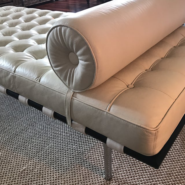 Vegan Leather Barcelona Style Daybed With Round Bolster Pillow For Sale - Image 10 of 12