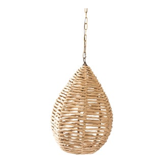 Late 20th Century Boho Chic Fiber and Raffia Woven Hanging Pendant Light