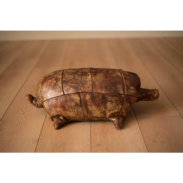 Mid-Century Modern Vintage Abercrombie and Fitch Leather Turtle Footstool by Dimitri Omersa For Sale - Image 3 of 8