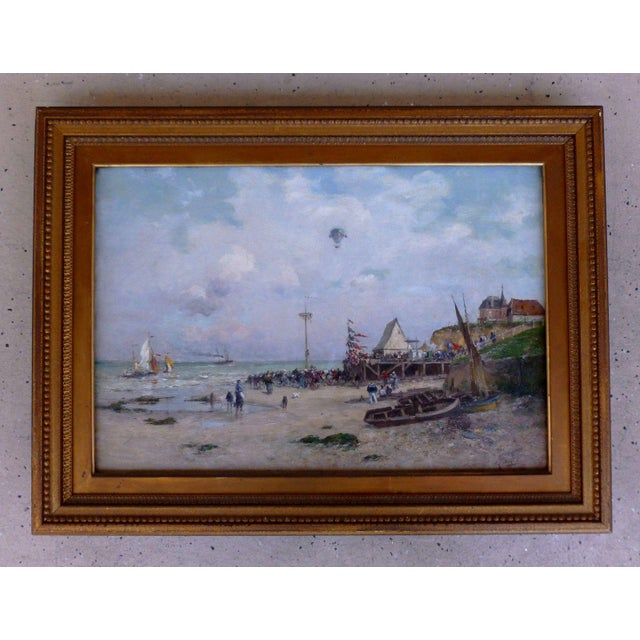 19th C French Impressionist Coastal Scene W Hot Air Balloon Painting For Sale - Image 10 of 10