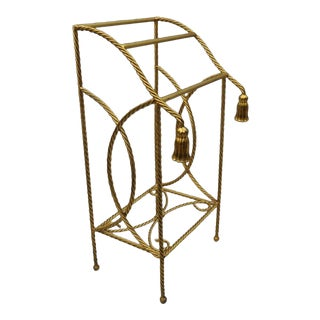 Vintage Italian Hollywood Regency Gold Gilt Iron Rope Tassel Towel Rack