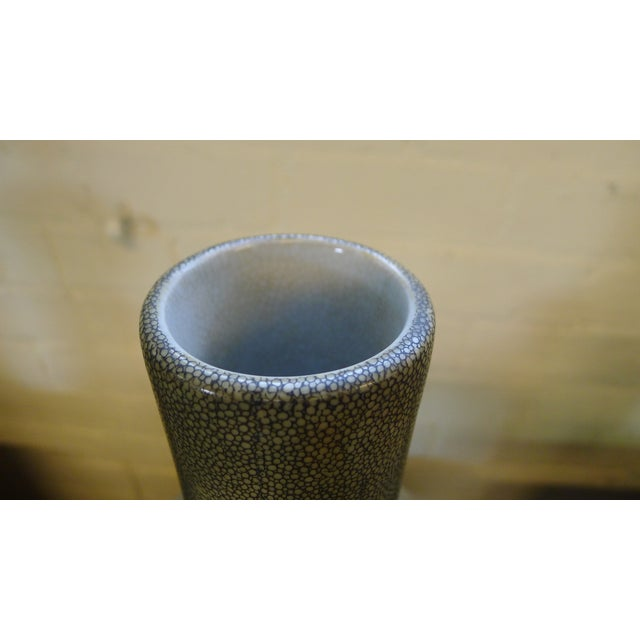 Shagreen Texture Modern Chinese Vase For Sale - Image 4 of 10