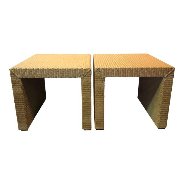 Janus Et Cie Wicker Tables - a Pair For Sale