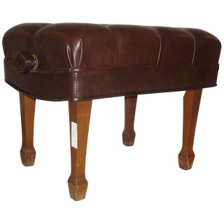 Steinway Adjustable Piano Bench in Leather For Sale