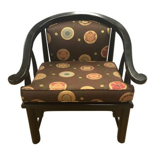 Mid-Century Modern Chinese Black Horseshoe Chair James Mont Style For Sale