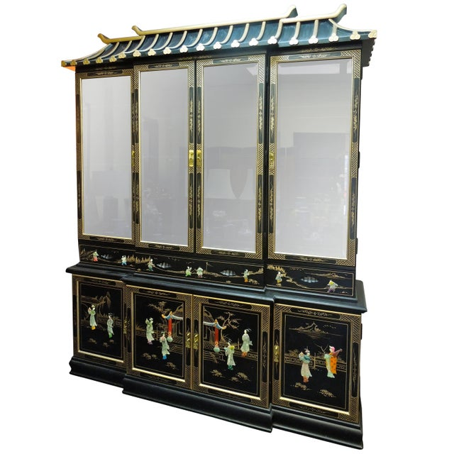 Very Chic 20th Century Chinoiserie Pagoda Glass Front Cabinet For Sale - Image 10 of 10