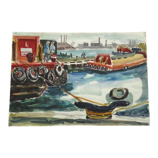 Mid Century Harbor Scene with Fishing Boats in Dock For Sale