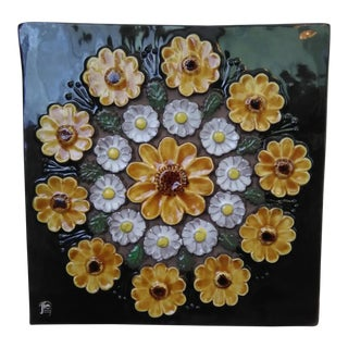 Mid-Century Swedish Floral Wall Plaque By Jie Gantofta Sweden For Sale