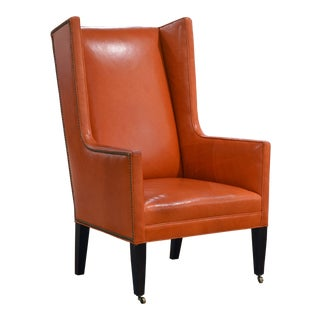 Modern Hermes Orange Leather Wingback Chair