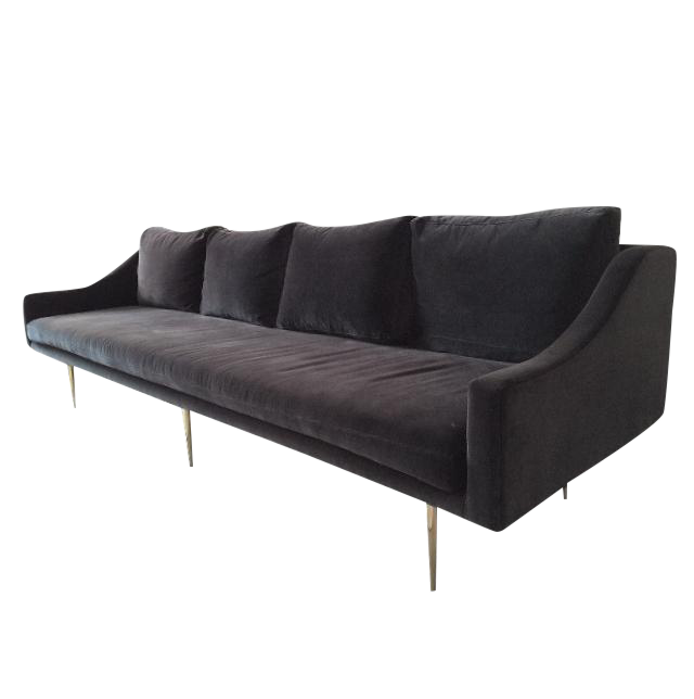 Organic Modernism Charcoal Velvet Sofa   Image 1 Of 3