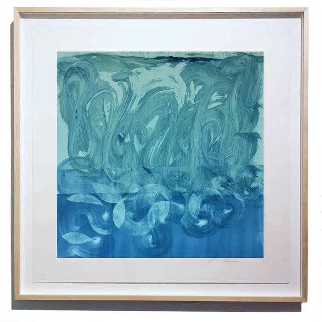 """Teal and Blue"" Original Monotype on Rives Bfk Paper Print by Karen J Revis For Sale - Image 4 of 4"