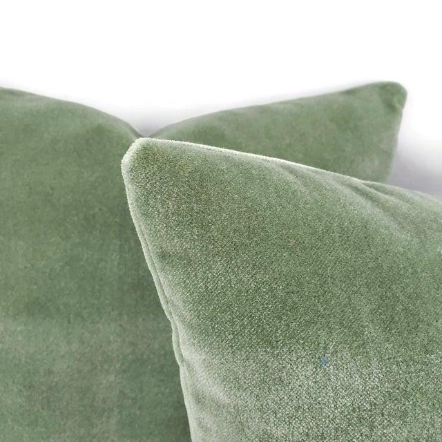 "Transitional Pollack Sedan Plush in Eucalyptus Pillow Cover - 20"" X 20"" Sage Green Heavy Velvet Cushion Case For Sale - Image 3 of 8"