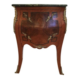 1920s Vintage French Bombe Chest Marble Top Nightstand For Sale
