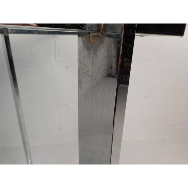 Milo Baughman Style Mid-Century Glass & Chrome Console Table For Sale In New York - Image 6 of 6