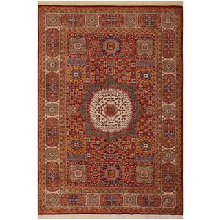 1990s Southwestern Mamluk Clyde Red/Ivory Wool Rug - 7'7 X 9'10 For Sale