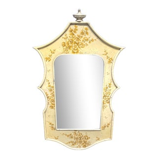 1970s Yellow Floral Laquered Pagoda Mirror For Sale