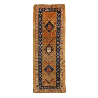 Antique Sarab Persian Geometric-Floral Yellow and Blue Wool Runner Rug - 3′7″ × 10′8″ For Sale