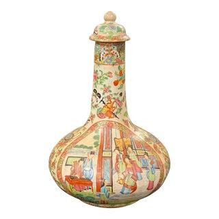 19th Century Rose Medallion Lidded Bottle Vase For Sale